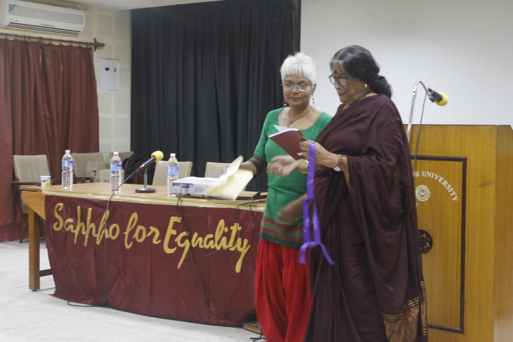 Eminent-writer-Prof.-Nabaneeta-Devsen-releasing-Sappho-for-Equalitys-latest-publication-the-sexuality-FAQ-book-Prasnottore-Jounota-at-National-Queer-Conference-20131